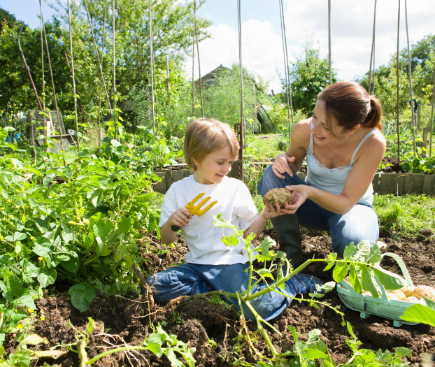 child and mother in garden using SNS WeedRot killing weeds - buy online now